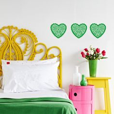 yellow + pink + emerald green bedroom, so lovely and bright via Apartment Therapy