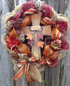 Fall Deco Mesh Wreath Blessings Cross by BaBamWreaths on Etsy, $80.00