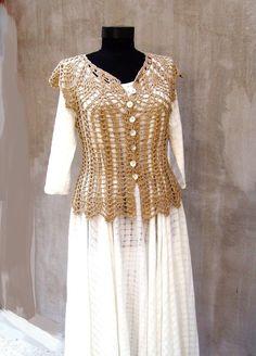Crochet lace blouse Crochet ecru blouse Rustic crochet by HEraMade