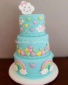 Baby Girl Birthday Cake, Baby Girl Cakes, Rainbow Birthday, Fondant Cake Designs, Fondant Cakes, Cupcake Cakes, Cupcakes, Cake Designs For Girl, Fiesta Cake