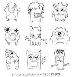 Find Set Cartoon Cute Monsters Vector Illustration stock images in HD and millions of other royalty-free stock photos, illustrations and vectors in the Shutterstock collection. Easy Doodle Art, Doodle Art Designs, Doodle Art Drawing, Doodle Monster, Monster Drawing, Graffiti Doodles, Graffiti Wall Art, Cute Monster Illustration, Cute Monsters Drawings
