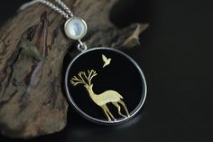 Silver Pendants – Silver deer Necklace pendant gold plated silver – a unique product by TO_Design on DaWanda