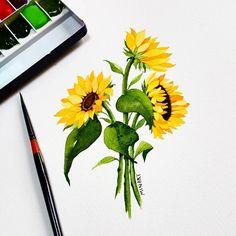 부서진 붓만 자꾸 쓰고있는 이유를...아시는분~ㅋㅋㅋ 🌻🌻🌻🌻🌻🌻🌻🌻🌻 행복한 주말 보내세요~^^ • Have a wonderful weekend💟 •저작권보호 copy🚫•… Watercolor Paintings For Beginners, Easy Watercolor, Watercolor Cards, Watercolor Print, Watercolor Flowers, Cute Flower Drawing, Flower Art, Sunflower Illustration, Printable Tattoos