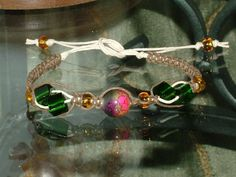 Mixed media bead and brown hemp bracelet in macrame for your Fall delight.  $12.00 More info. at:  www.justjuliewrites.etsy.com