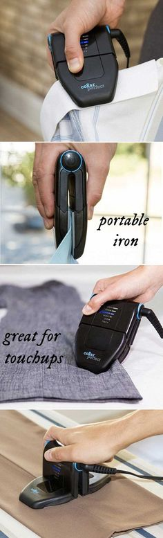 Travel iron and great for office touchups. Crisp up collars, hems, and pockets between two heated plates. Smooth between shirt buttons, too. For bigger areas, the plates rotate into a mini iron. http://amzn.to/2rsjy6P