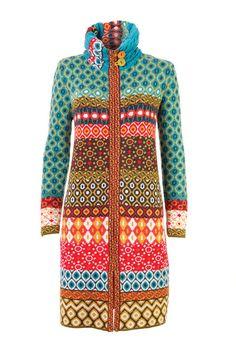 Coat, Geometric Pattern - Coat | Ivko Woman