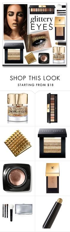 """""""Gold Glitter Eyes"""" by voguefashion101 ❤ liked on Polyvore featuring beauty, Smith & Cult, Yves Saint Laurent, Bobbi Brown Cosmetics and By Terry"""