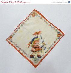 Vintage Childs Handkerchief Hankie, 1940's