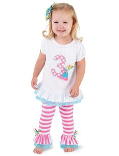 Mud Pie I'm 3 Birthday Tunic and Leggings Outfit