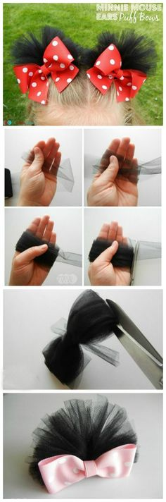 Minnie Mouse Ears Puff Bows - Step by step instructions