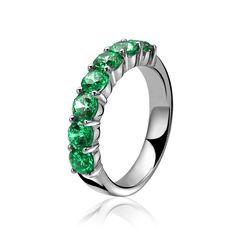 ZINZI zilveren ring groen ZIR1000G
