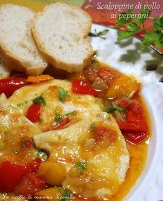 SCALOPPINE DI POLLO AI PEPERONI, ricetta secondo in padella