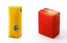 Juice Skin by Naoto Fukasawa,  non-rigid plastic  technology: electrostatic flocking, technology for playfood production