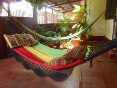 Rastafari Colors One, Double Hammock hand-woven Natural Cotton Simple Fringe
