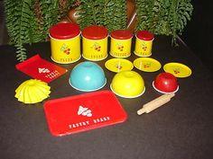 Vintage Wolverine Tin Litho Miniature Cherries Kitchen Canister Set