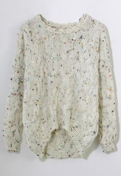 Candy Dots Knit Sweater with Scrolled Neckline in Ivory