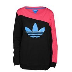 adidas Originals Boyfriend Crew Sweatshirt - Women's - Black/Blaze Pink/Bluebird