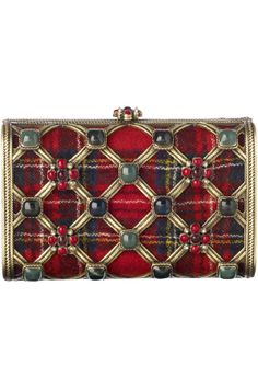 Chanel clutch in chic plaid & semi-precious stones
