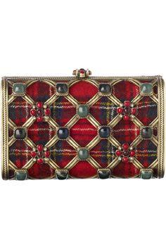 Chanel clutch in chic plaid & semi-precious stones