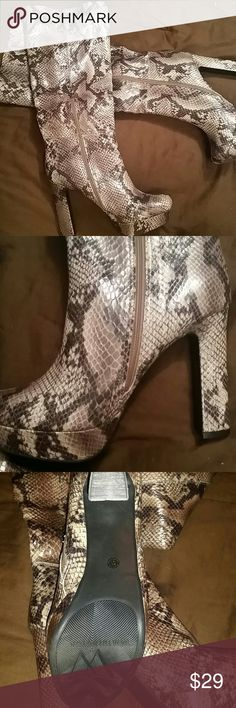 """NWOT Worthington boots Sexy, python print boots by Worthington, NWOT, Never been worn!  5"""" heel with 1"""" platform.  So fierce yet chic at the same time! Worthington Shoes Heeled Boots"""