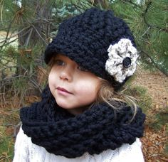 Child Hat and Scarf Set- Black SAVE 6 DOLLARS. $38.00, via Etsy.