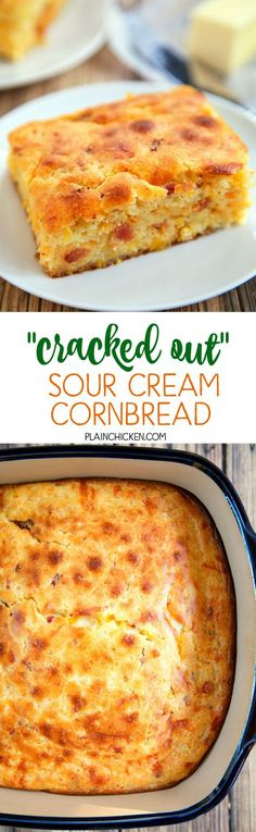 """Cracked Out"" Sour Cream Cornbread – quick cornbread recipe kicked up with cheddar bacon and Ranch. Cornmeal sour cream creamed corn cheddar bacon and Ranch. This is the most requested cornbread recipe in our house. Everyone loves it! It is super easy to make and tastes amazing!"