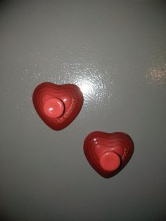 (2) LE CREUSET HEART MAGNETS COLOR: CERISE CHERRY REC ( BRAND NEW IN ORIGINAL BOX) *THESE WERE LIMITED EDITION HARD TO FIND** Le Creuset Cookware, Cherry Red, Magnets, Sweet Home, The Originals, Heart, Box, Color, Snare Drum