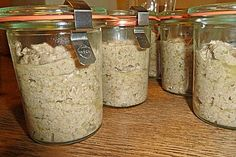 Leberwurst 1 Canning Recipes, My Recipes, Liver Sausage, Home Made Sausage, German Sausage, How To Make Sausage, Sausage Making, Mason Jars, Food And Drink