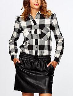 Carreaux Blanc Chemise Noir Femme qzMpSUV