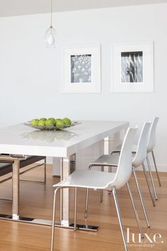 ✐Color: White ✦ White table, chairs, frames, and walls/ paint color in dining area @Luxe