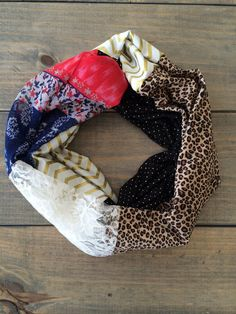 Cheetah and Lace Patchwork Infinity Scarf by KutKloth on Etsy