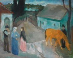 István Szőnyi (Hungary Village Roadoil on canvas 66 by cm Lawrence Lee, European Paintings, Art Station, First Art, Pablo Picasso, Traditional Art, Impressionist, The Magicians, Hungary