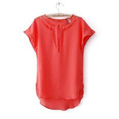 2015 New Casual Top Chiffon Tees Blouse fashion Hot sales women shirt hollow laser engraving summer clothes#6686
