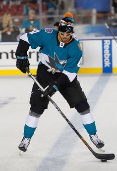 San Jose Sharks defenseman Brenden Dillon during warm ups for the Stadium Series game at Levi's Stadium (Feb. 21, 2015).
