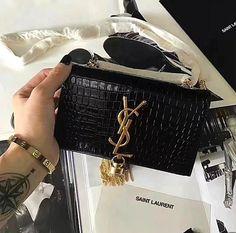 YSL Inspired Croc Monogram Tassel Kate Handbag – Purses And Handbags Totes Popular Handbags, Cute Handbags, Hermes Handbags, Cheap Handbags, Fashion Handbags, Handbags Michael Kors, Purses And Handbags, Fashion Bags, Fashion Purses