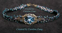Beautiful beadwoven blue crystal choker by Caroline Fung  carolinefung.blogspot.se