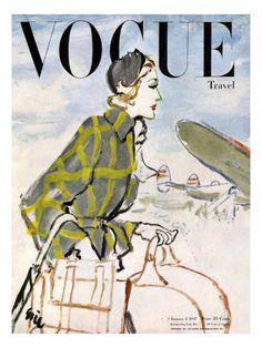illustration US de mode : Carl Erickson, couverture de magazine, Vogue UK, mai 1947 Vogue Magazine Covers, Fashion Magazine Cover, Magazine Art, Foto Fashion, Fashion History, Travel Fashion, Pinup, Vintage Vogue Covers, Vogue Uk