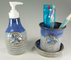 Pottery toothbrush holder ceramic soap by WillowTreePottery