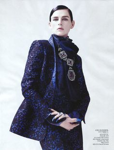 """Stella Tennant in """"New Dandy"""" by Willy Vanderperre for Vogue China September 2012"""
