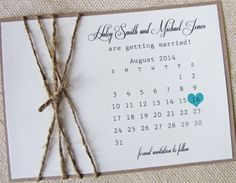 Rustic Burlap Twine Save the Date Card Calendar by LoveofCreating, $3.00