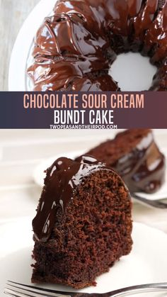 Chocolate Sour Cream Bundt Cake The best dessert recipe perfect you must try this Mother's Day! Chocolate Sour Cream Bundt Cake is easy to make, with Best Dessert Recipes, Fun Desserts, Yummy Recipes, Cream Recipes, Muffin Recipes, Beef Recipes, Delicious Desserts, Homemade Chocolate, Chocolate Recipes