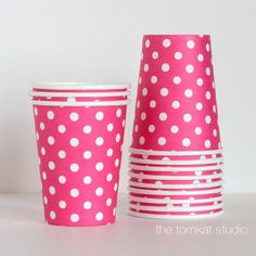 Paper Drinking Cups-Dark Pink with White Dots for $7.00 from The TomKat Studio Party Shop
