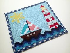 Nautical Mug Rug Applique Template and Tutorial - rom these easy-to-read instructions you can piece together an illustrative mug rug that will complete your home decor or add a much-needed touch of sea air to it. Applique Templates, Applique Patterns, Sewing Patterns Free, Free Sewing, Mug Rug Patterns, Quilt Patterns, Placemat Patterns, Small Quilts, Mini Quilts