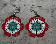 Huichol Peyote Beaded Earrings H-1 by HuicholArte on Etsy