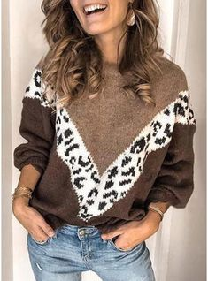 Women Patchwork Leopard Print Sweater Female Thick Loose Long Sleeve Sweater Pullovers Pull Femme Plus Size Winter Clothes Casual Sweaters, Long Sweaters, Pullover Sweaters, Sweaters For Women, Women's Casual Tops, Leopard Pullover, Leopard Sweater, Matching Sweaters, Upcycled Clothing
