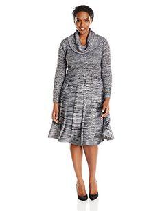 Fashion Womens Plus Size Printed Long Sleeve Cowl Neck Sweater Dress www.fashionbug.us #plussize 1X 2X 3X 4X 5X 6X