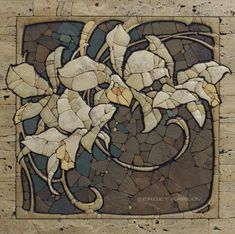 Sergey Karlov: floral mosaic in stone Check out these awesome mosaics! Pebble Mosaic, Stone Mosaic, Mosaic Wall, Mosaic Glass, Mosaic Tiles, Stained Glass, Glass Art, Tiling, Mosaic Crafts