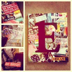 canvas + magazine scraps + wooden letter