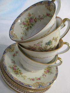 Vintage Mismatched China Cups & Saucers for Tea Party Bridal