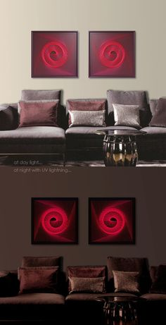 UV Wall Art Set in Red  Burgundy Abstract by FeniksArtDeco on Etsy